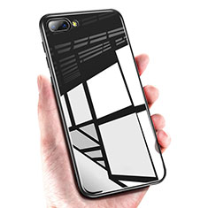 Silikon Hülle Handyhülle Gummi Schutzhülle Spiegel M01 für Huawei Honor 10 Schwarz