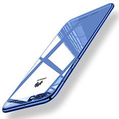 Silikon Hülle Handyhülle Gummi Schutzhülle Spiegel M01 für Huawei P10 Blau