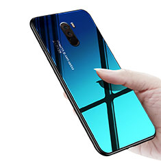 Silikon Hülle Handyhülle Gummi Schutzhülle Spiegel M03 für Xiaomi Pocophone F1 Blau