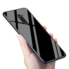 Silikon Hülle Handyhülle Gummi Schutzhülle Spiegel M04 für Xiaomi Pocophone F1 Schwarz