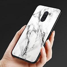 Silikon Hülle Handyhülle Gummi Schutzhülle Spiegel M05 für Xiaomi Pocophone F1 Weiß