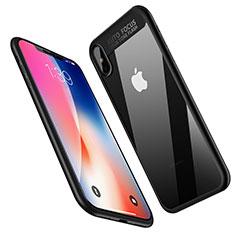 Silikon Hülle Handyhülle Gummi Schutzhülle Spiegel W01 für Apple iPhone Xs Max Schwarz
