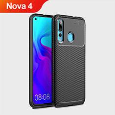 Silikon Hülle Handyhülle Gummi Schutzhülle Tasche Köper für Huawei Nova 4 Schwarz