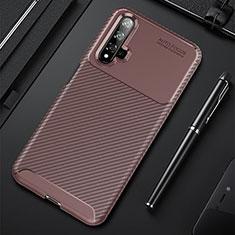 Silikon Hülle Handyhülle Gummi Schutzhülle Tasche Köper für Huawei Nova 5T Braun