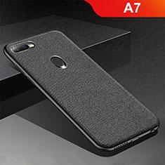 Silikon Hülle Handyhülle Gummi Schutzhülle Tasche Köper für Oppo A7 Schwarz