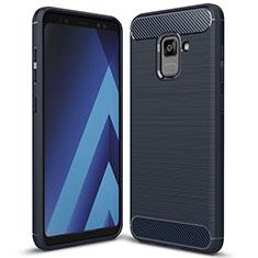 Silikon Hülle Handyhülle Gummi Schutzhülle Tasche Köper für Samsung Galaxy A5 (2018) A530F Blau