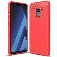Silikon Hülle Handyhülle Gummi Schutzhülle Tasche Köper für Samsung Galaxy A5 (2018) A530F Rot