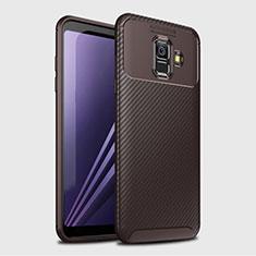 Silikon Hülle Handyhülle Gummi Schutzhülle Tasche Köper für Samsung Galaxy A6 (2018) Dual SIM Braun