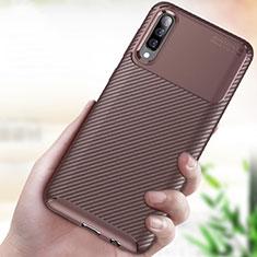 Silikon Hülle Handyhülle Gummi Schutzhülle Tasche Köper für Samsung Galaxy A70 Braun