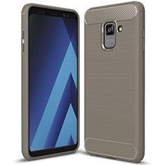 Silikon Hülle Handyhülle Gummi Schutzhülle Tasche Köper für Samsung Galaxy A8+ A8 Plus (2018) Duos A730F Grau