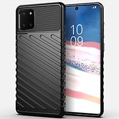 Silikon Hülle Handyhülle Gummi Schutzhülle Tasche Köper für Samsung Galaxy A81 Schwarz