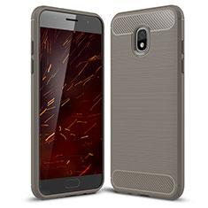 Silikon Hülle Handyhülle Gummi Schutzhülle Tasche Köper für Samsung Galaxy J3 (2018) SM-J377A Grau