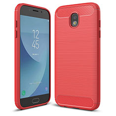 Silikon Hülle Handyhülle Gummi Schutzhülle Tasche Köper für Samsung Galaxy J5 (2017) SM-J750F Rot