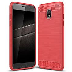 Silikon Hülle Handyhülle Gummi Schutzhülle Tasche Köper für Samsung Galaxy J7 (2018) J737 Rot