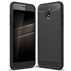 Silikon Hülle Handyhülle Gummi Schutzhülle Tasche Köper für Samsung Galaxy J7 (2018) J737 Schwarz