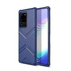 Silikon Hülle Handyhülle Gummi Schutzhülle Tasche Köper für Samsung Galaxy S20 Ultra 5G Blau