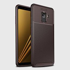 Silikon Hülle Handyhülle Gummi Schutzhülle Tasche Köper S01 für Samsung Galaxy A8+ A8 Plus (2018) Duos A730F Braun