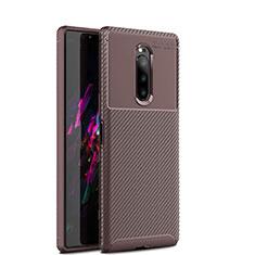 Silikon Hülle Handyhülle Gummi Schutzhülle Tasche Köper S01 für Sony Xperia 1 Braun