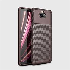 Silikon Hülle Handyhülle Gummi Schutzhülle Tasche Köper S01 für Sony Xperia 10 Plus Braun
