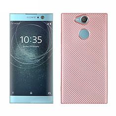 Silikon Hülle Handyhülle Gummi Schutzhülle Tasche Köper S01 für Sony Xperia XA2 Rosegold
