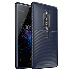 Silikon Hülle Handyhülle Gummi Schutzhülle Tasche Köper S01 für Sony Xperia XZ2 Premium Blau
