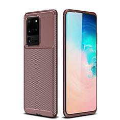 Silikon Hülle Handyhülle Gummi Schutzhülle Tasche Köper S02 für Samsung Galaxy S20 Ultra 5G Braun