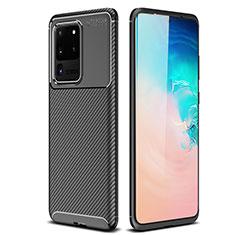 Silikon Hülle Handyhülle Gummi Schutzhülle Tasche Köper S02 für Samsung Galaxy S20 Ultra 5G Schwarz