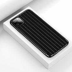Silikon Hülle Handyhülle Gummi Schutzhülle Tasche Line C01 für Apple iPhone 11 Pro Max Schwarz