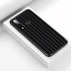Silikon Hülle Handyhülle Gummi Schutzhülle Tasche Line C01 für Huawei Honor 20 Lite Schwarz