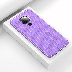 Silikon Hülle Handyhülle Gummi Schutzhülle Tasche Line C01 für Huawei Mate 20 Violett