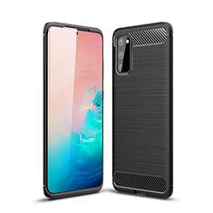 Silikon Hülle Handyhülle Gummi Schutzhülle Tasche Line C01 für Samsung Galaxy S20 5G Schwarz