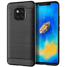 Silikon Hülle Handyhülle Gummi Schutzhülle Tasche Line C02 für Huawei Mate 20 Pro Schwarz