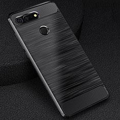Silikon Hülle Handyhülle Gummi Schutzhülle Tasche Line C03 für Huawei Honor V20 Schwarz