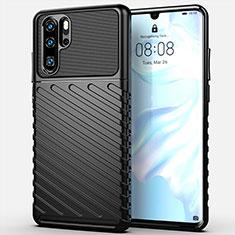Silikon Hülle Handyhülle Gummi Schutzhülle Tasche Line C03 für Huawei P30 Pro Schwarz