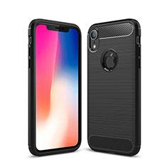 Silikon Hülle Handyhülle Gummi Schutzhülle Tasche Line für Apple iPhone XR Schwarz
