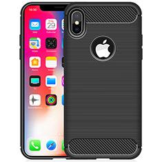 Silikon Hülle Handyhülle Gummi Schutzhülle Tasche Line für Apple iPhone Xs Schwarz
