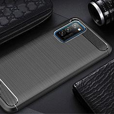 Silikon Hülle Handyhülle Gummi Schutzhülle Tasche Line für Huawei Honor View 30 5G Schwarz