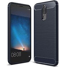 Silikon Hülle Handyhülle Gummi Schutzhülle Tasche Line für Huawei Mate 10 Lite Blau