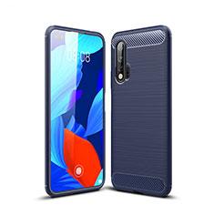 Silikon Hülle Handyhülle Gummi Schutzhülle Tasche Line für Huawei Nova 6 5G Blau