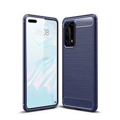 Silikon Hülle Handyhülle Gummi Schutzhülle Tasche Line für Huawei P40 Pro+ Plus Blau