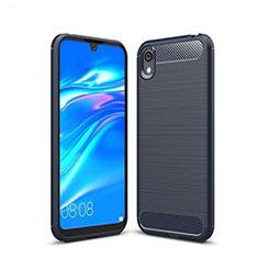 Silikon Hülle Handyhülle Gummi Schutzhülle Tasche Line für Huawei Y5 (2019) Blau