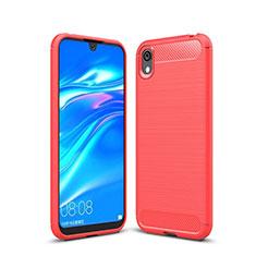 Silikon Hülle Handyhülle Gummi Schutzhülle Tasche Line für Huawei Y5 (2019) Rot