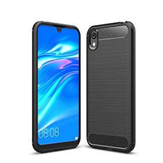 Silikon Hülle Handyhülle Gummi Schutzhülle Tasche Line für Huawei Y5 (2019) Schwarz