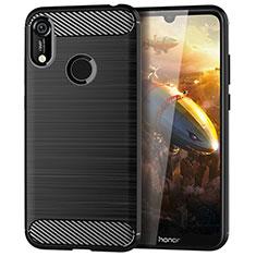 Silikon Hülle Handyhülle Gummi Schutzhülle Tasche Line für Huawei Y6 Pro (2019) Schwarz