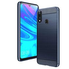 Silikon Hülle Handyhülle Gummi Schutzhülle Tasche Line für Huawei Y7 (2019) Blau