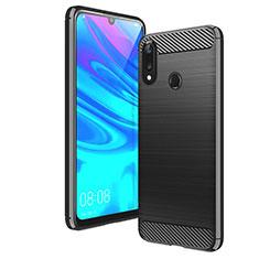 Silikon Hülle Handyhülle Gummi Schutzhülle Tasche Line für Huawei Y7 (2019) Schwarz