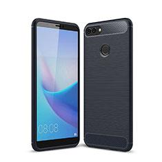 Silikon Hülle Handyhülle Gummi Schutzhülle Tasche Line für Huawei Y9 (2018) Blau