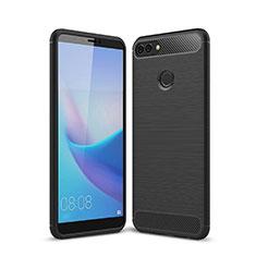 Silikon Hülle Handyhülle Gummi Schutzhülle Tasche Line für Huawei Y9 (2018) Schwarz