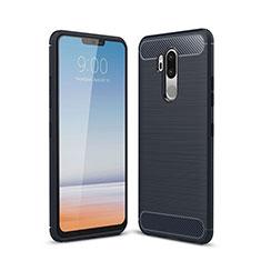 Silikon Hülle Handyhülle Gummi Schutzhülle Tasche Line für LG G7 Blau