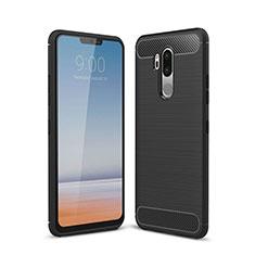 Silikon Hülle Handyhülle Gummi Schutzhülle Tasche Line für LG G7 Schwarz